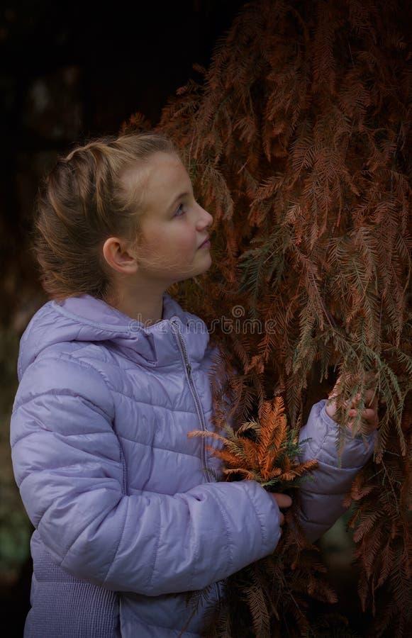 Ragazza felice che ride e che gioca in foglie di autunno immagine stock libera da diritti
