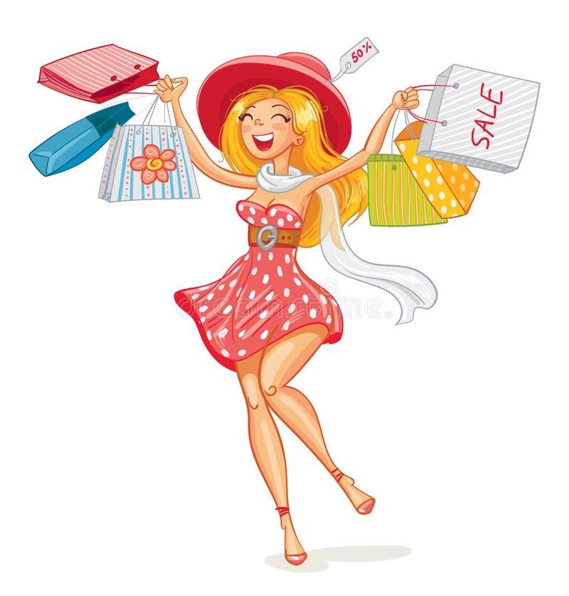 Ragazza felice con i sacchetti della spesa in negozio illustrazione di stock