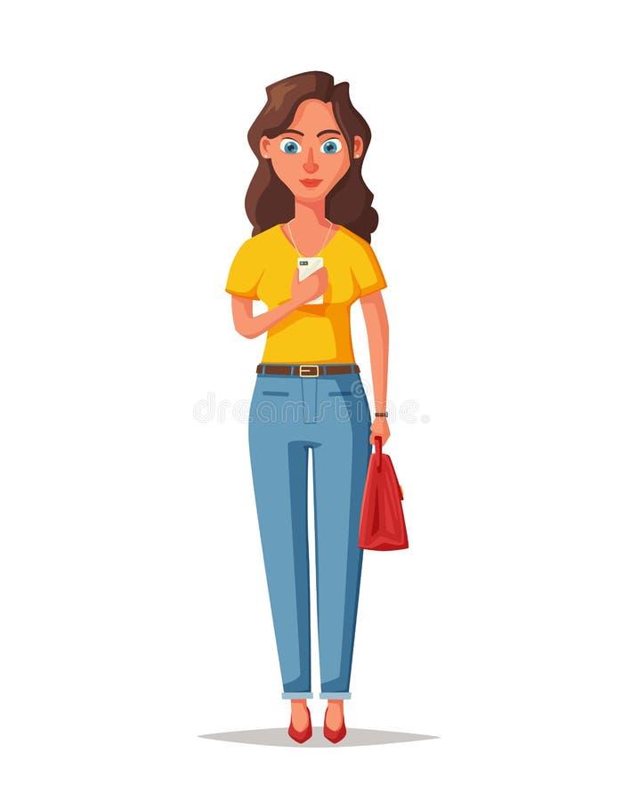 Ragazza felice con l'aggeggio Donna allegra e bella Illustrazione di vettore del fumetto royalty illustrazione gratis