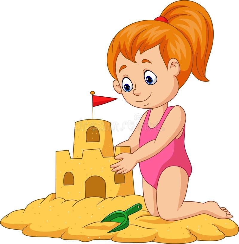 Ragazza felice del fumetto che fa il castello della sabbia illustrazione vettoriale