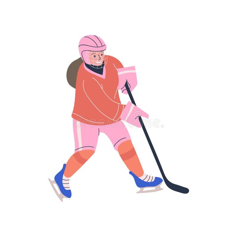 Ragazza felice dell'adolescente che gioca il gioco di hockey su ghiaccio royalty illustrazione gratis