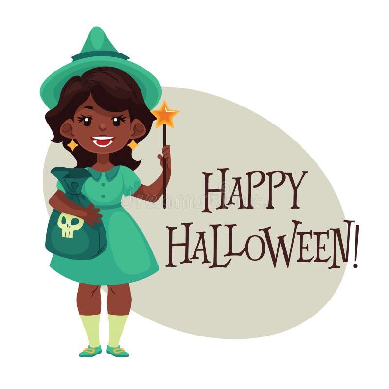 Ragazza felice vestita come fatato per Halloween illustrazione di stock