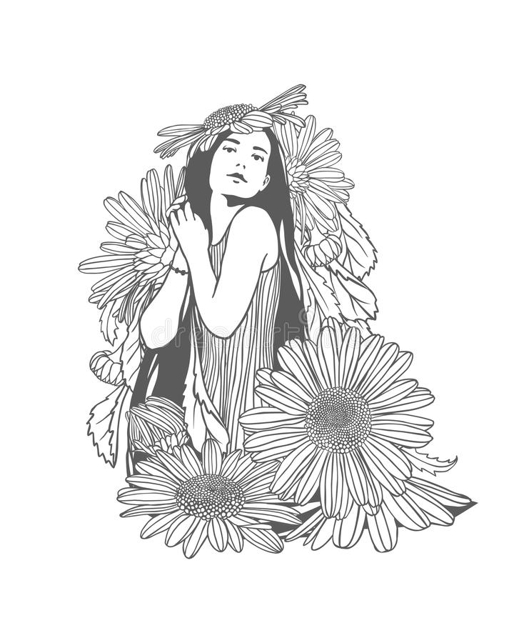 Ragazza in fiori della camomilla Illustrazione lineare royalty illustrazione gratis