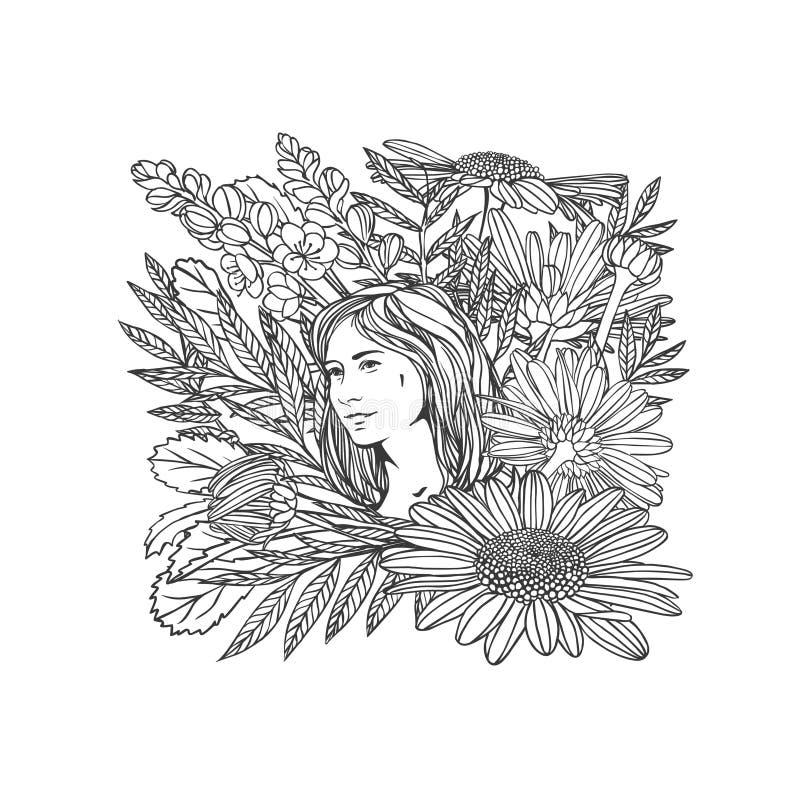 Ragazza in fiori Illustrazione lineare Rebecca 36 illustrazione vettoriale
