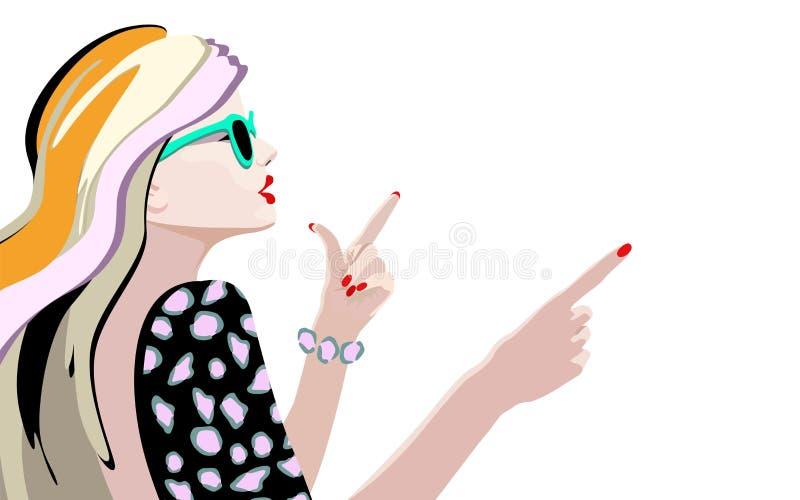 Ragazza fresca di modo del ritratto astratto dell'acquerello in occhiali da sole illustrazione vettoriale