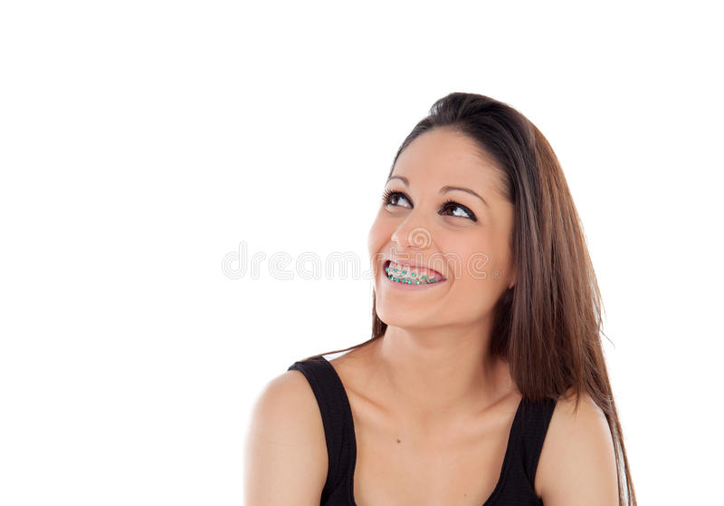 Ragazza fresca sorridente con cercare dei sostegni immagini stock