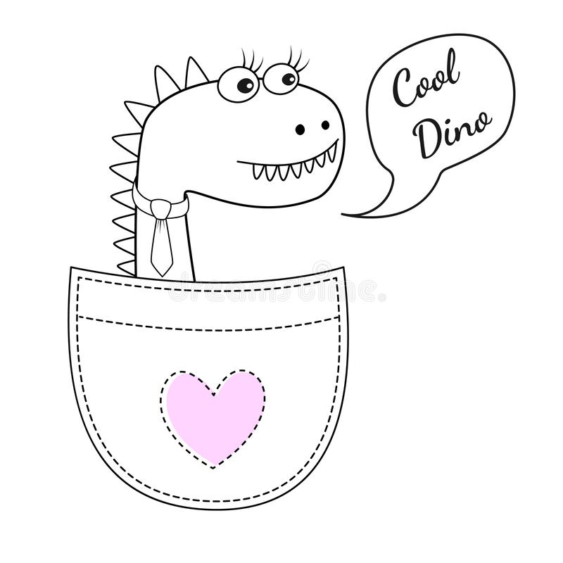 Ragazza fresca sveglia di Dino nella tasca e con un legame isolato su fondo bianco illustrazione di stock