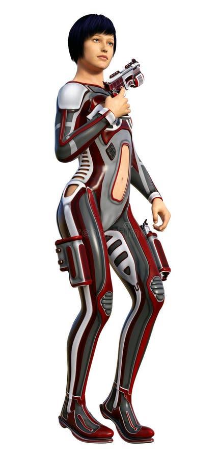 Ragazza futuristica del soldato, munita con la pistola, illustrazione 3d royalty illustrazione gratis