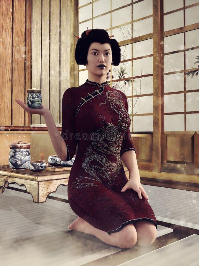 Ragazza giapponese con un insieme di tè royalty illustrazione gratis