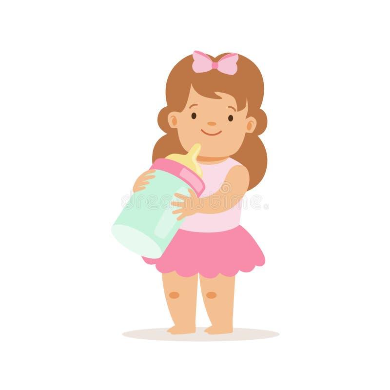 Ragazza in gonna rosa con la bottiglia per il latte, personaggio dei cartoni animati sorridente adorabile del bambino ogni situaz illustrazione di stock