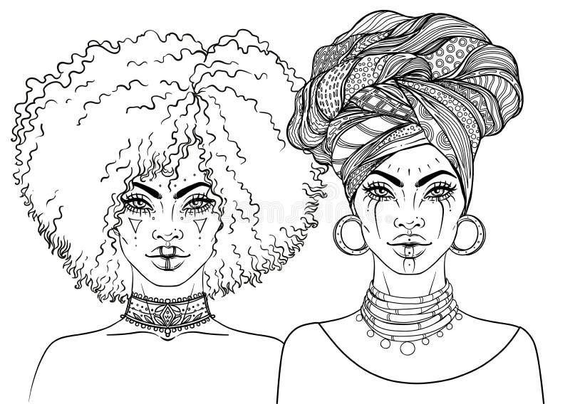 Ragazza graziosa afroamericana Illustrazione di vettore della donna di colore royalty illustrazione gratis