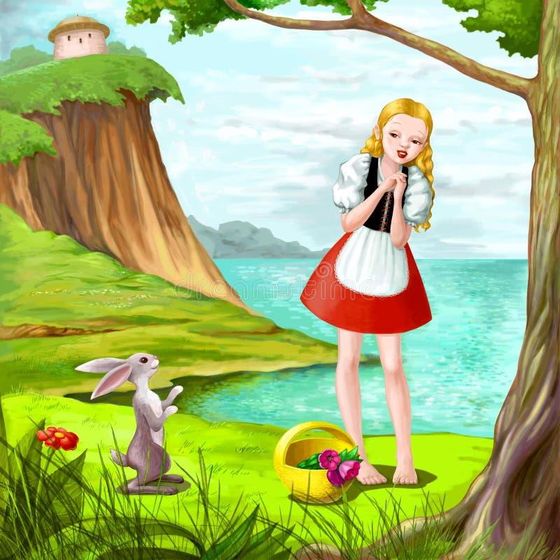 Ragazza graziosa con coniglio vicino al fiume illustrazione di stock