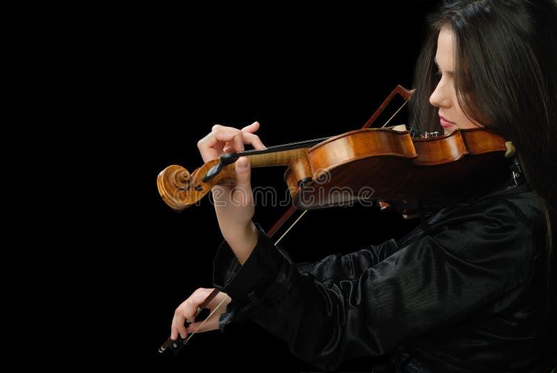 Ragazza graziosa con il violino fotografie stock libere da diritti