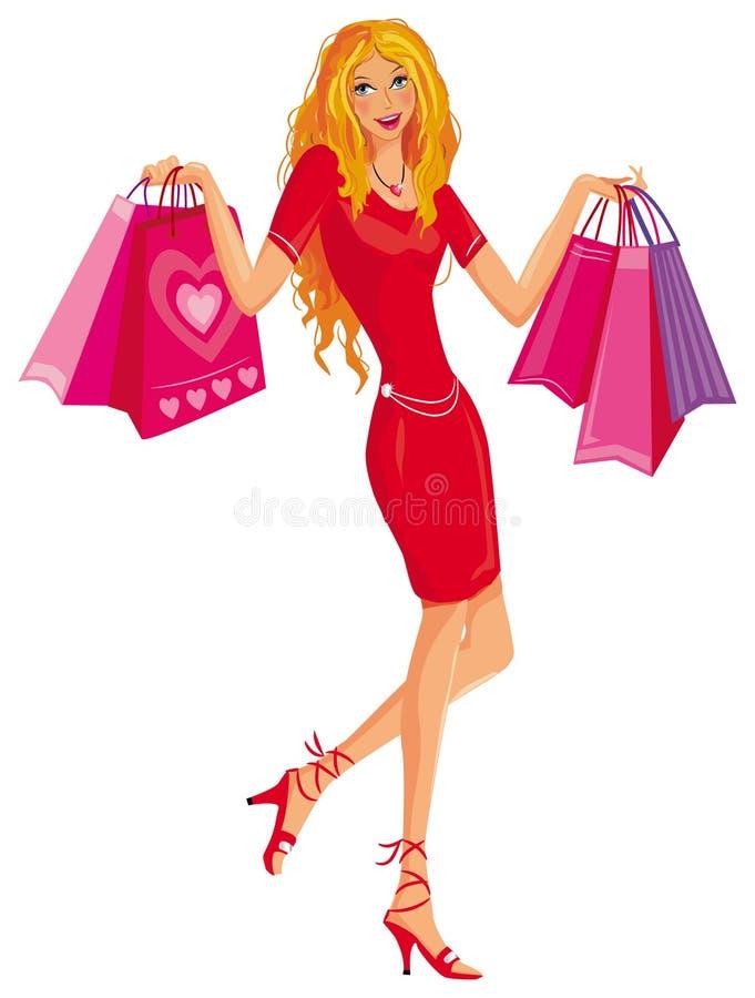 Ragazza graziosa d'acquisto. illustrazione di stock