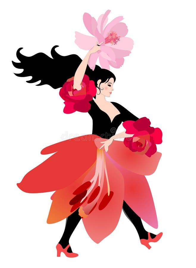 Ragazza graziosa del ballerino di flamenco che porta una gonna sotto forma di un fiore del giglio e con un fan sotto forma di un  illustrazione di stock