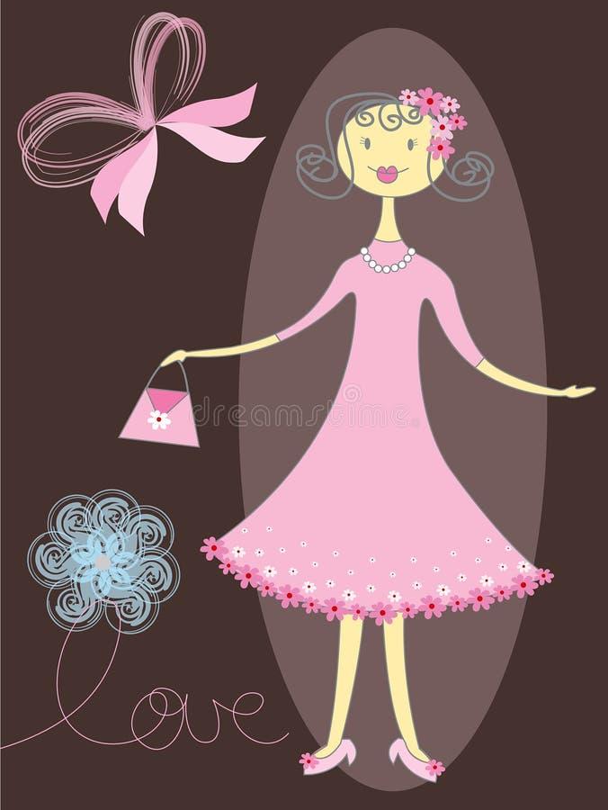 Ragazza graziosa nel colore rosa royalty illustrazione gratis