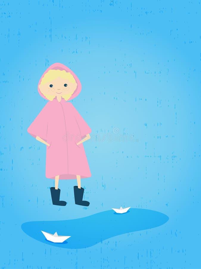 Ragazza graziosa nella pioggia davanti all'illustrazione di vettore della pozza illustrazione vettoriale