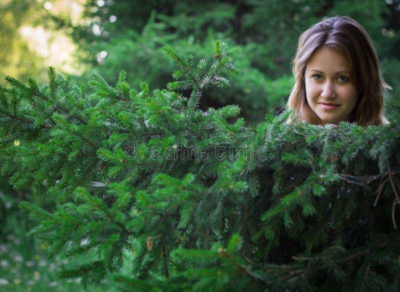 Ragazza graziosa in una bella foresta immagini stock libere da diritti
