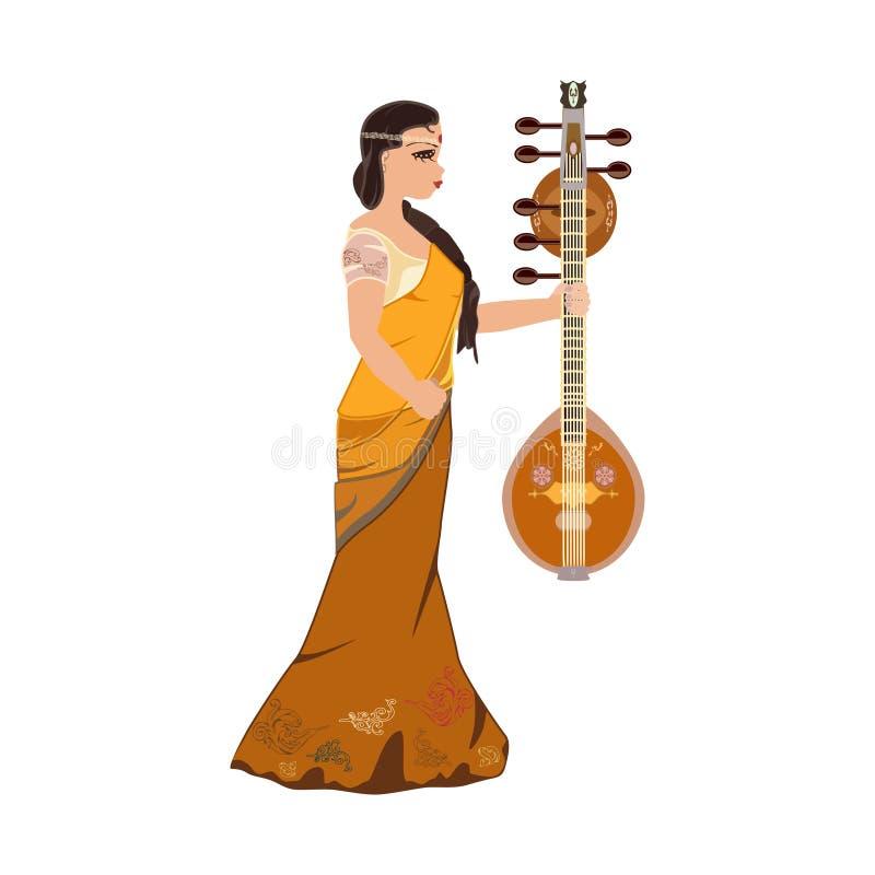 Ragazza indiana con l'illustrazione piana di vettore di vina di saraswati illustrazione di stock