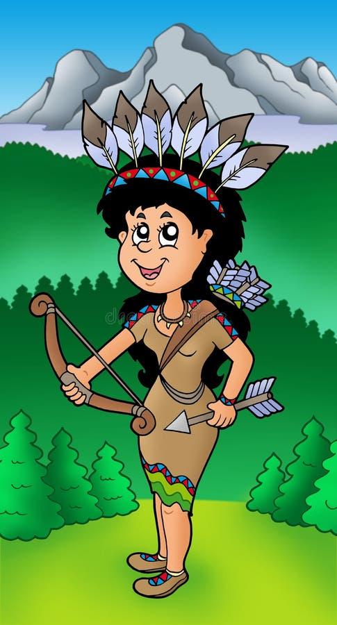 Ragazza indiana dell'nativo americano sul prato illustrazione vettoriale