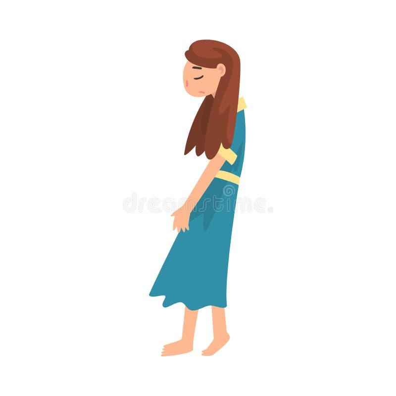 Ragazza infelice deprimente, adolescente sollecitato, illustrazione sola, ansiosa, abusata di vettore della ragazza illustrazione di stock