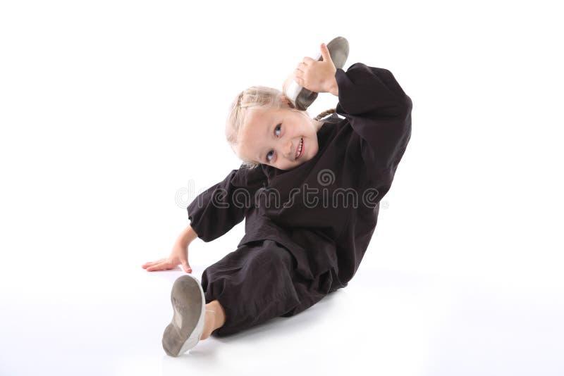 Ragazza - karateka fotografia stock libera da diritti