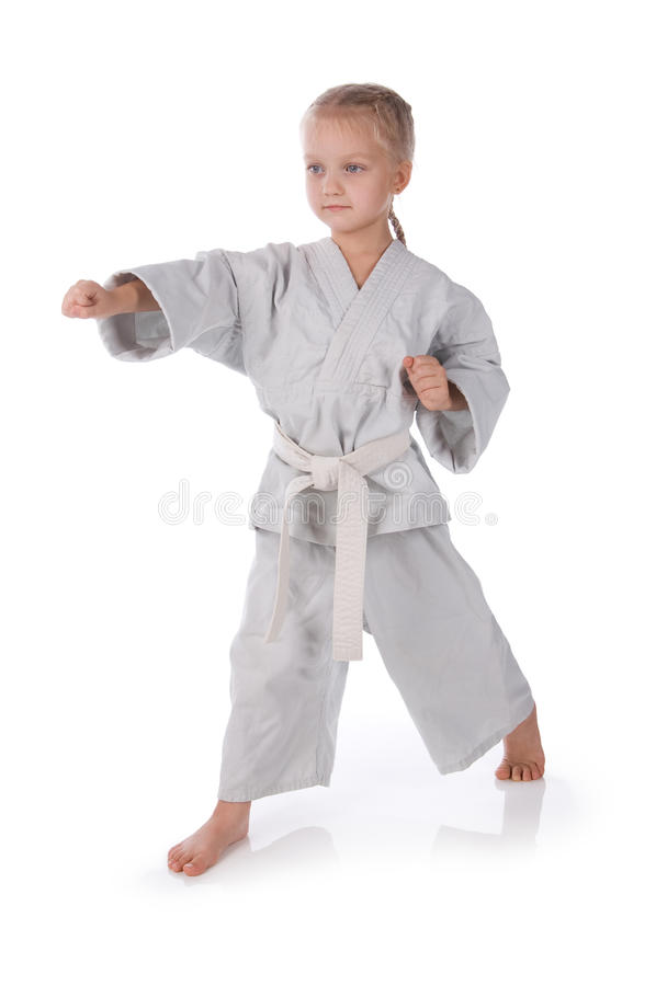 Ragazza - karateka in kimono fotografia stock libera da diritti