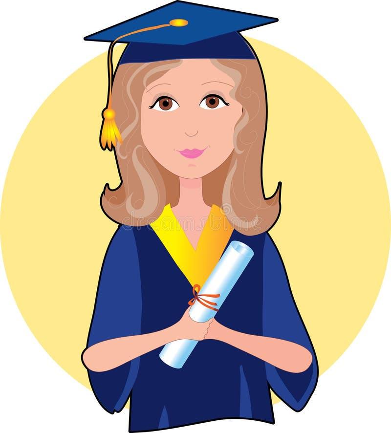 Ragazza laureata illustrazione di stock