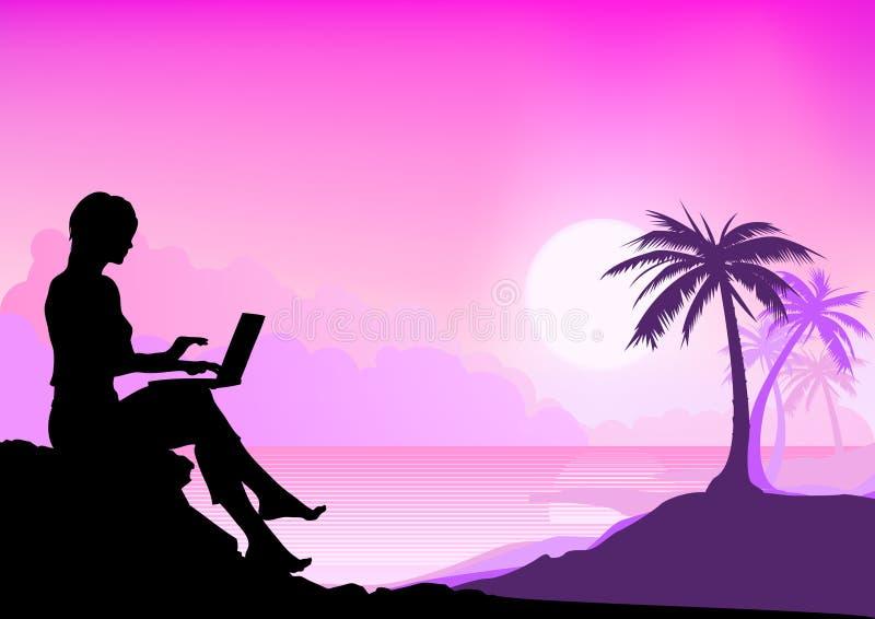 Ragazza lavorante della spiaggia illustrazione di stock