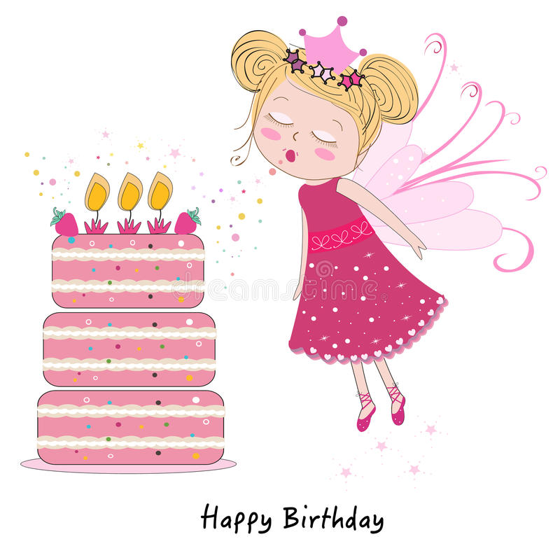 Ragazza leggiadramente che spegne le candele con la torta di compleanno felice illustrazione di stock