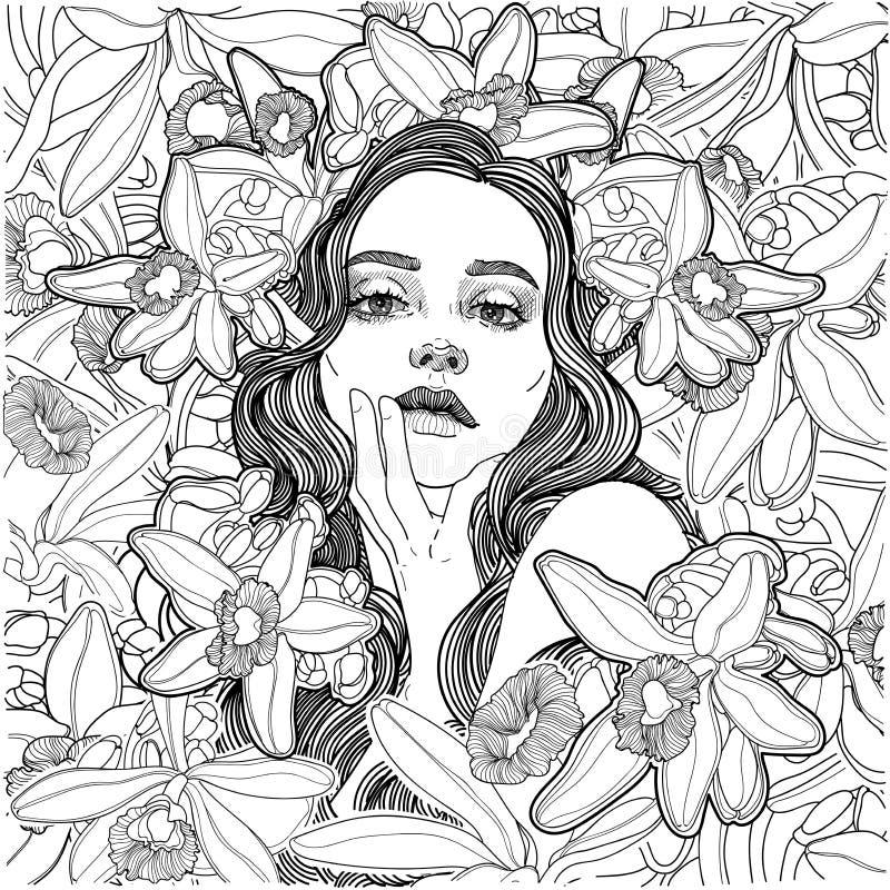 Ragazza leggiadramente nei boschetti di fioritura di vaniglia illustrazione vettoriale