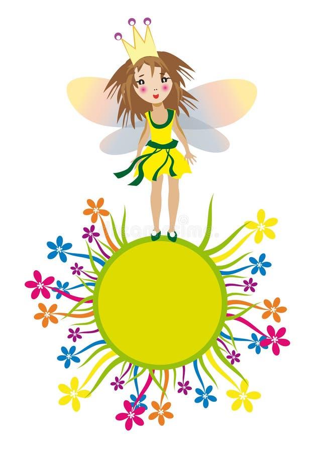 Ragazza leggiadramente sveglia sul cerchio giallo dell'erba royalty illustrazione gratis