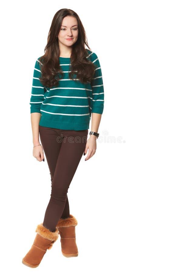 Ragazza in maglione a strisce verde fotografie stock