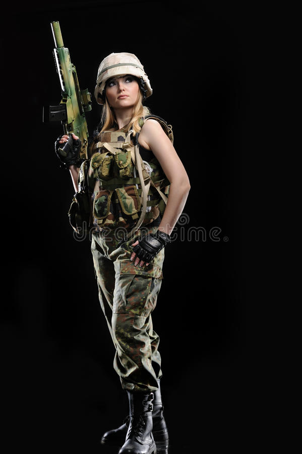 Ragazza militare sexy fotografia stock