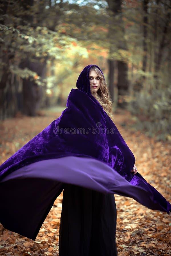 Ragazza misteriosa in un capo nella foresta di autunno immagine stock