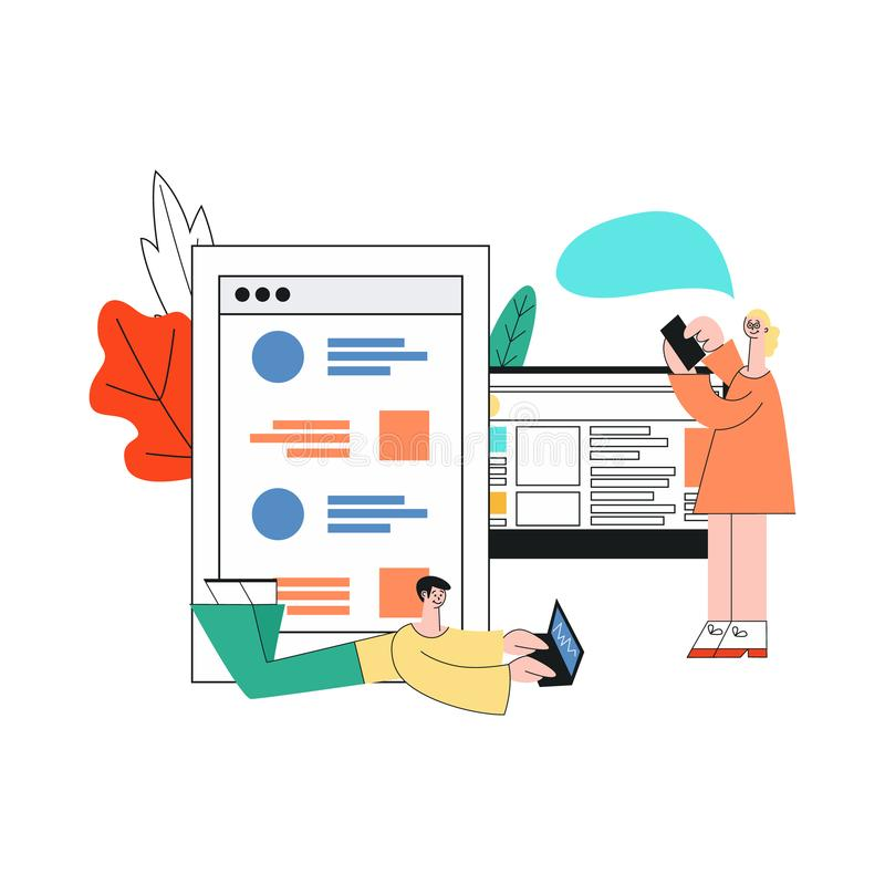 Ragazza mobile di sviluppo dei apps di vettore, computer portatile dell'uomo royalty illustrazione gratis