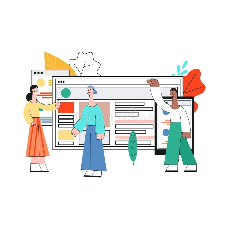 Ragazza mobile di sviluppo dei apps di vettore, computer portatile dell'uomo illustrazione di stock