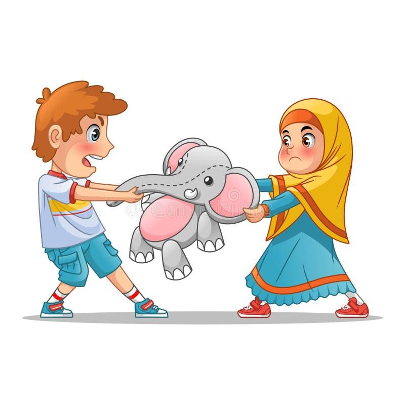Ragazza musulmana e ragazzo che combattono sopra una bambola illustrazione vettoriale