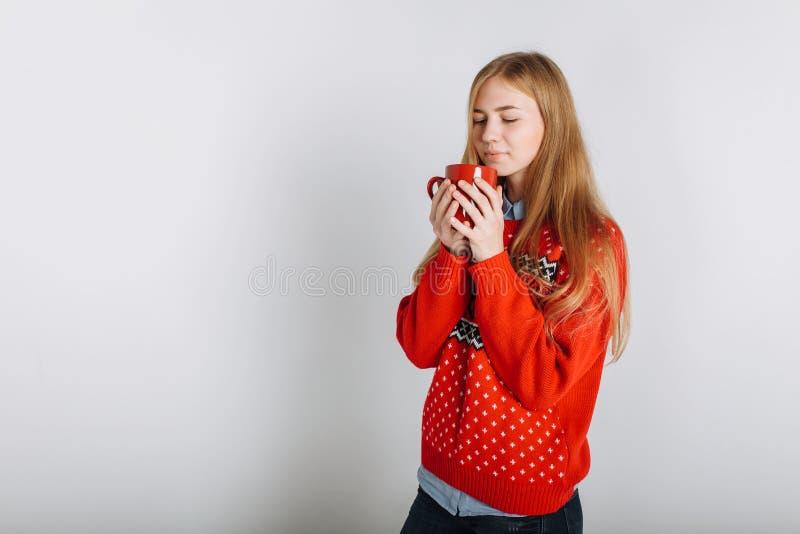 Ragazza in Natale o maglione del nuovo anno nello studio che tiene una tazza di caffè aromatizzato posto per l'umore di Natale de fotografia stock