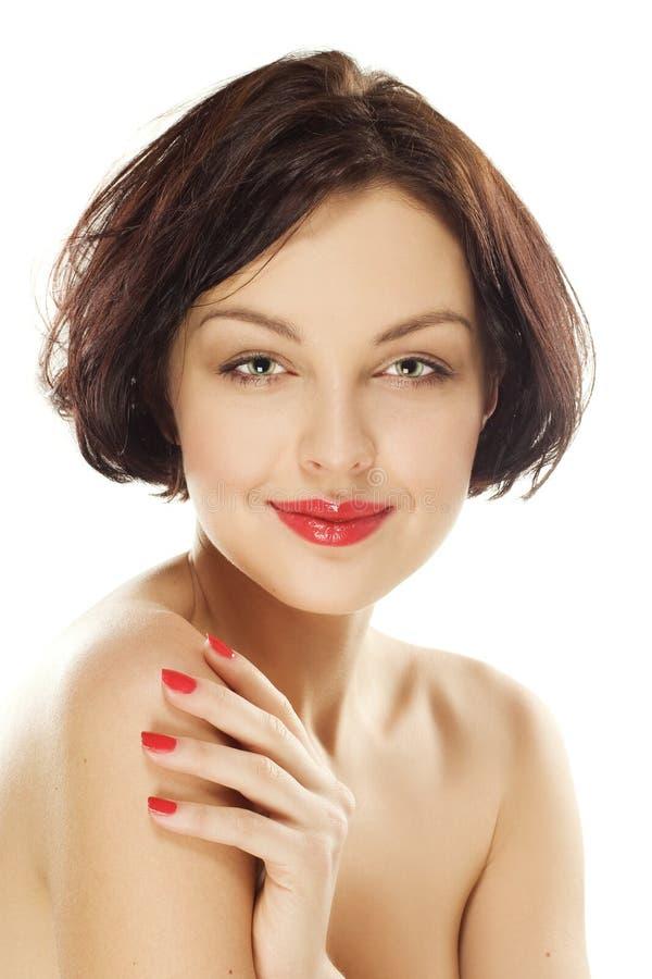 Ragazza naturale di bellezza con i buoni sorrisi della pelle immagine stock libera da diritti