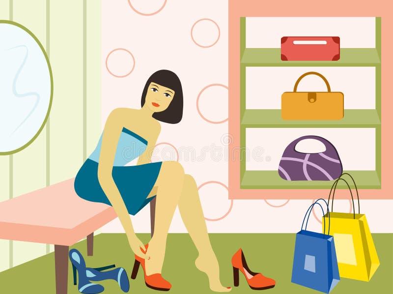 Ragazza in negozio. royalty illustrazione gratis
