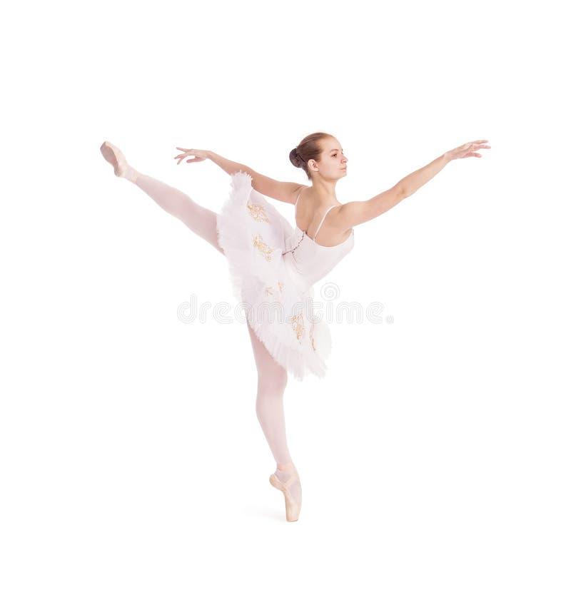 Ragazza nel balletto bianco di dancing del tutu immagini stock libere da diritti