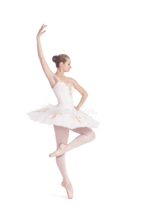 Ragazza nel balletto bianco di dancing del tutu immagine stock libera da diritti