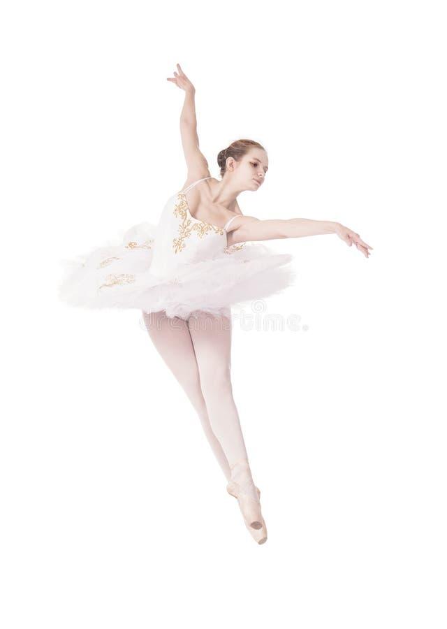 Ragazza nel balletto bianco di dancing del tutu fotografia stock libera da diritti