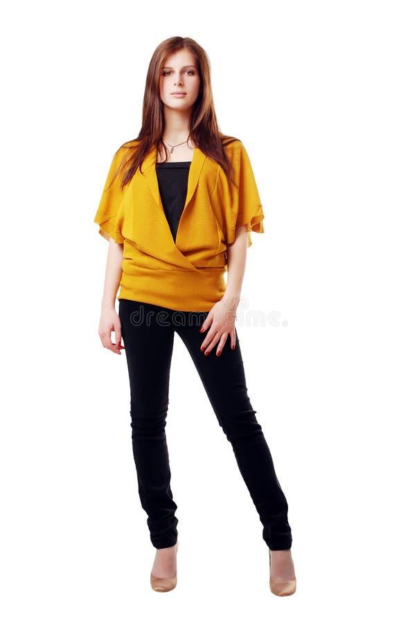 Ragazza nel colore giallo fotografie stock
