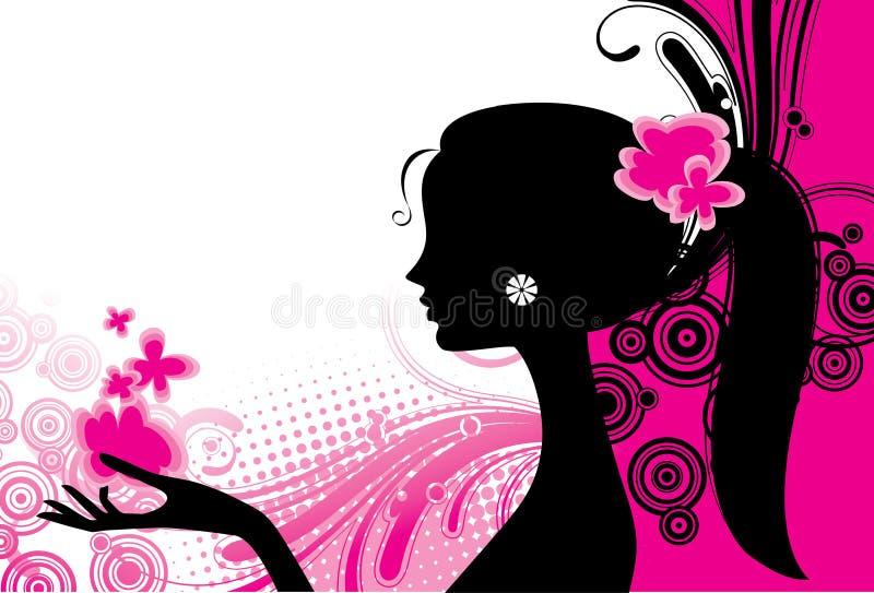 Ragazza nel colore rosa illustrazione vettoriale