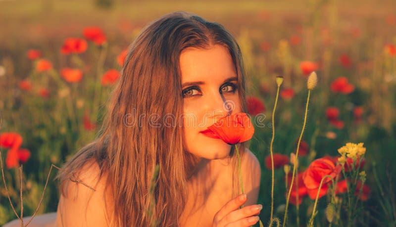 Ragazza nel fiore del papavero di fiuto del campo fotografie stock libere da diritti