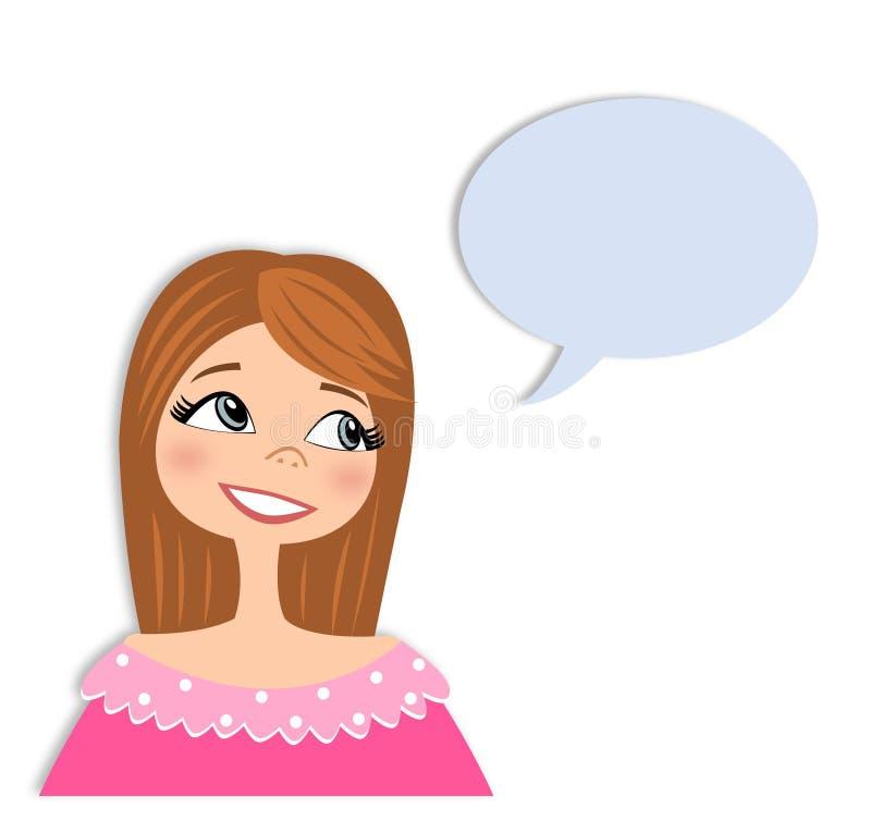 Ragazza nel personaggio dei cartoni animati di conversazione