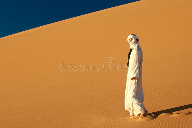 Ragazza nel Sahara fotografia stock