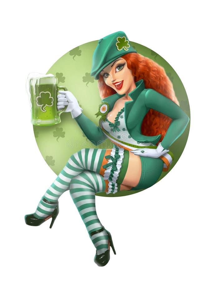 Ragazza nel vestito del leprechaun con birra. Giorno di San Patrizio. illustrazione vettoriale